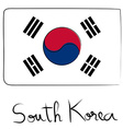 South Korea flag doodle vector image vector image