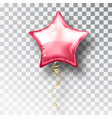 star pink balloon on transparent background party vector image