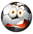 Startled facial expression football vector image