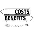 two arrow sign drawing of costs or benefits