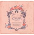 vintage card - with retro frame and flowers vector image vector image