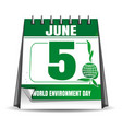 world environment day calendar 5 june vector image vector image