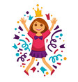 happy birthday girl princess confetti party vector image