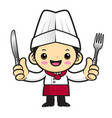head cook character is holding a fork and knife vector image