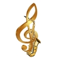 saxophone in a gold treble clef vector image