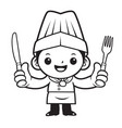 black and white head chef mascot is holding a vector image