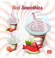 Set of three red smoothie in a plastic cup with vector image