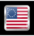 American Betsy Ross Flag Metal Icon Square Shape vector image vector image