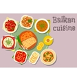 Balkan cuisine dishes for dinner menu design vector image vector image