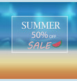 banner summer discount in a frame on the beach vector image vector image
