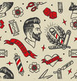 barbershop tattoos vintage seamless pattern vector image vector image