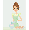 Beautiful lady cooking muffins vector image vector image