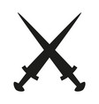 black and white crossed daggers silhouette vector image vector image