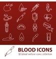 blood outline icons vector image vector image