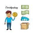 businessman with cash money economy of the company vector image vector image