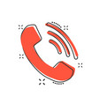 cartoon phone icon in comic style contact support vector image