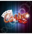 casino design with roulette wheel and ribbon vector image
