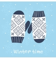 Christmas card with knitted mittens vector image vector image