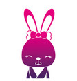 color silhouette adorable and shy rabbit female vector image vector image