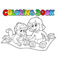 coloring book with kids and bricks vector image vector image