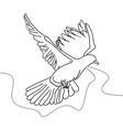 continuous one line drawing flying pigeon vector image vector image