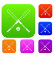 crossed baseball bats and ball set collection vector image vector image