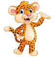 Cute cartoon leopard waving hand vector image vector image