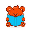 cute little bear read book vector image vector image