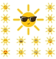 cute sun set with funny smiley faces vector image vector image