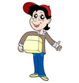 delivery boy with box 2 vector image vector image