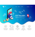 delivery service landing with phone icons vector image vector image