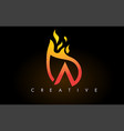 flame a letter logo design icon with orange vector image