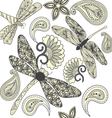 Floral Paisley and dragonflies in black and white vector image