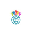 Globe and colorful hands up mockup volunteer vector image vector image