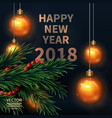 Happy new year 2018 fir tree greeting card