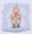 happy penguin in coat hat and scarf vector image vector image