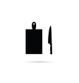 knife with cutting board silhouette vector image