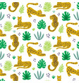 leopard and tropical leaves jungle pattern vector image vector image