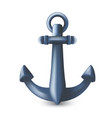 nautical maritime blue metal anchor 3d symbol or vector image