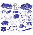 pig pictures and icons vector image vector image