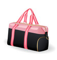 pink black sport bag for sportswear and equipment vector image vector image