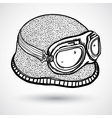 Retro motorcycle helmet and goggles vector image vector image