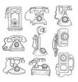 retro telephone old ancient technology gadgets vector image vector image