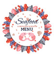 round banner menu with sea food vector image vector image