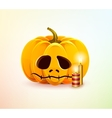Sad pumpkin vector image