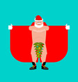 santa claus exhibitionist and christmas tree vector image