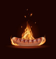 sausage in fire grill barbecue bratwurst vector image vector image