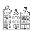 set 3 line style amsterdam old houses facades vector image vector image