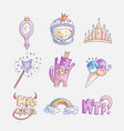 set princess and little girls cute fashion icon vector image vector image