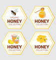 set raw honey labels for greetings and vector image vector image